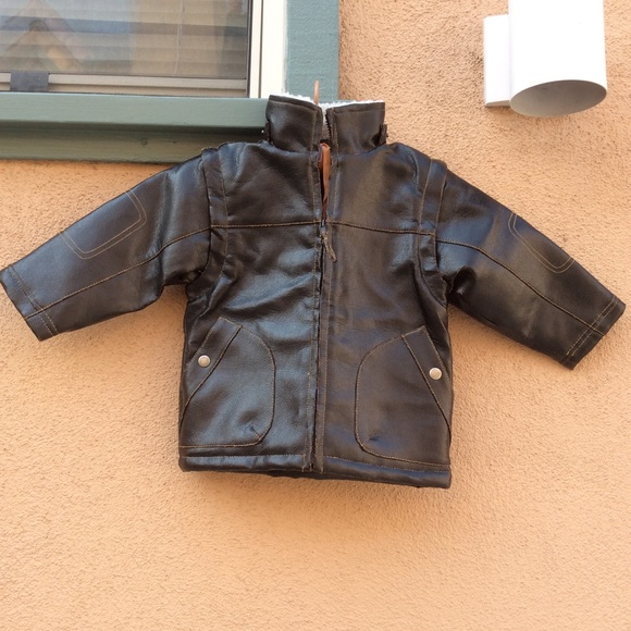 Macy's Other - Airplane Kid's Bomber Pleather Jacket / Vest Brown